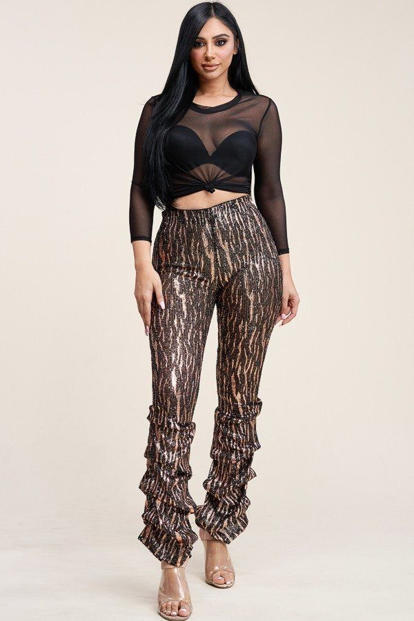 Sequin high rise stacked pant and 3/4 sleeve power mesh top two piece set-id.cc40168