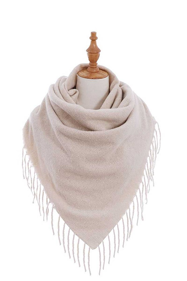 Stylish solid color square scarf with fringe-id.cc40238