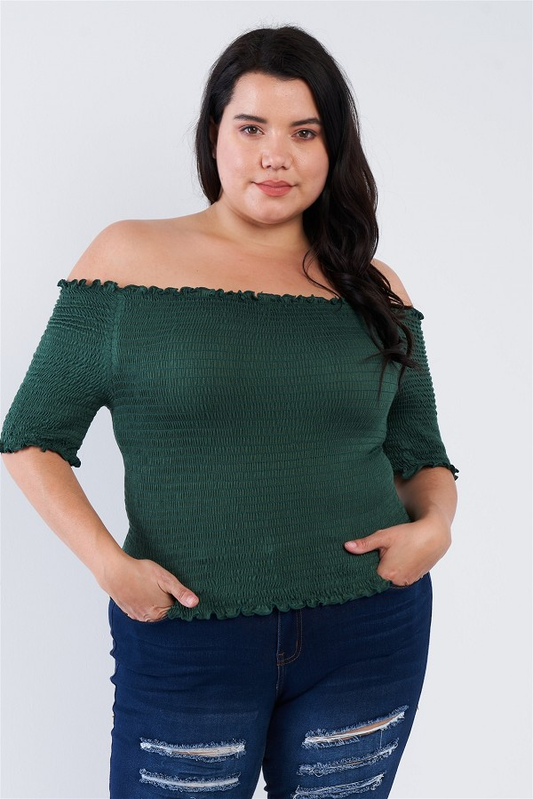 Plus size off the shoulder top-id.cc40247