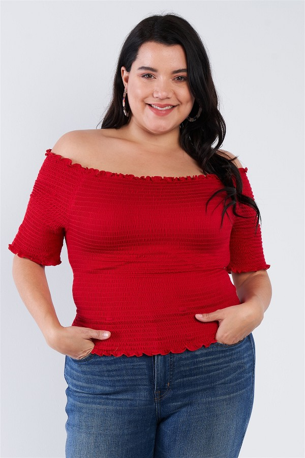 Plus size off the shoulder top-id.cc40247b