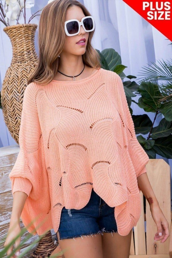 Plus size round neck long batwing sleeve scalloped edge sweater-id.cc40280a