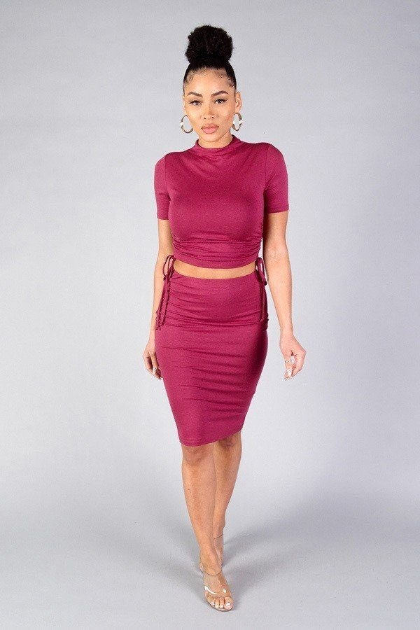 High neck short sleeve ruched tee & high-waisted midi skirt set-id.cc40335