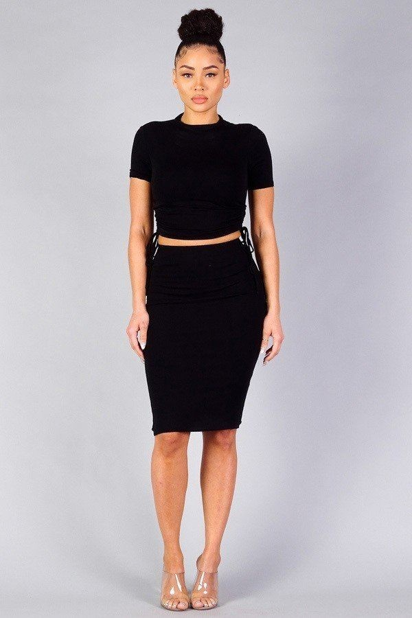 High neck short sleeve ruched tee & high-waisted midi skirt set-id.cc40335a