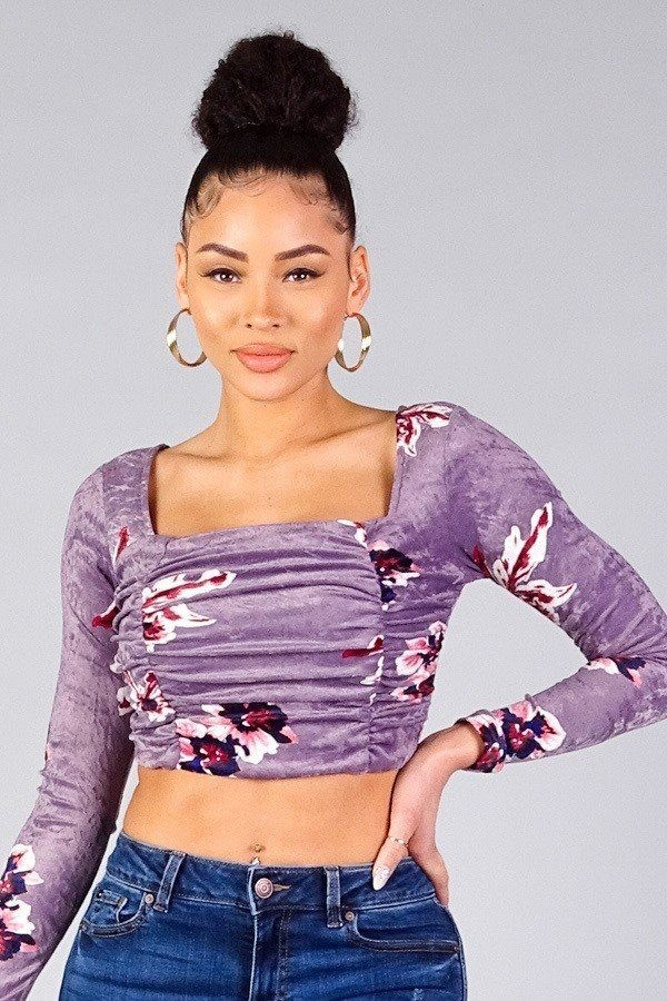 Ruched velvet floral back tie crop top-id.cc40336