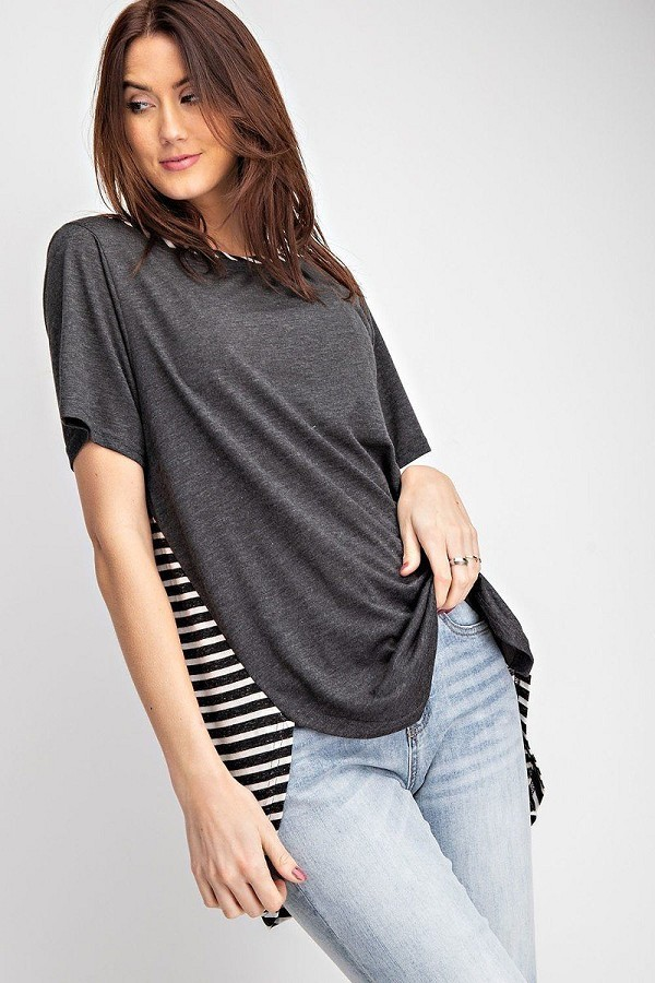 Short sleeves rayon slub mix and match striped contrast boxy top-id.cc40345