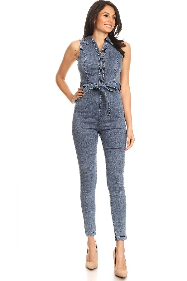 Fitted denim jumpsuit with waist tie, button down detail, and collar-id.cc40394