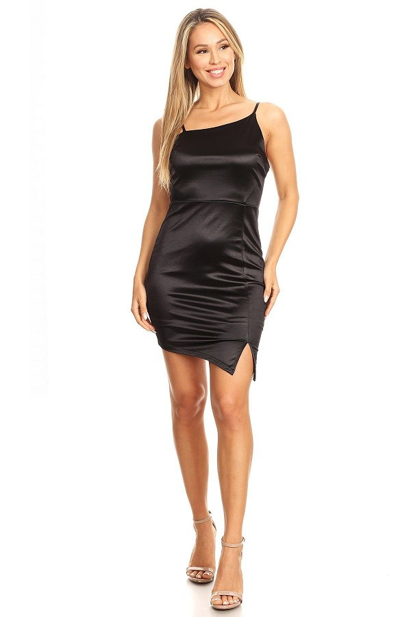 Solid mini dress with bodycon fit, side slit, and spaghetti straps-id.cc40396