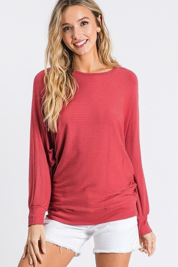 Dolman long sleeve ribbed top with banded hem-id.cc40407b