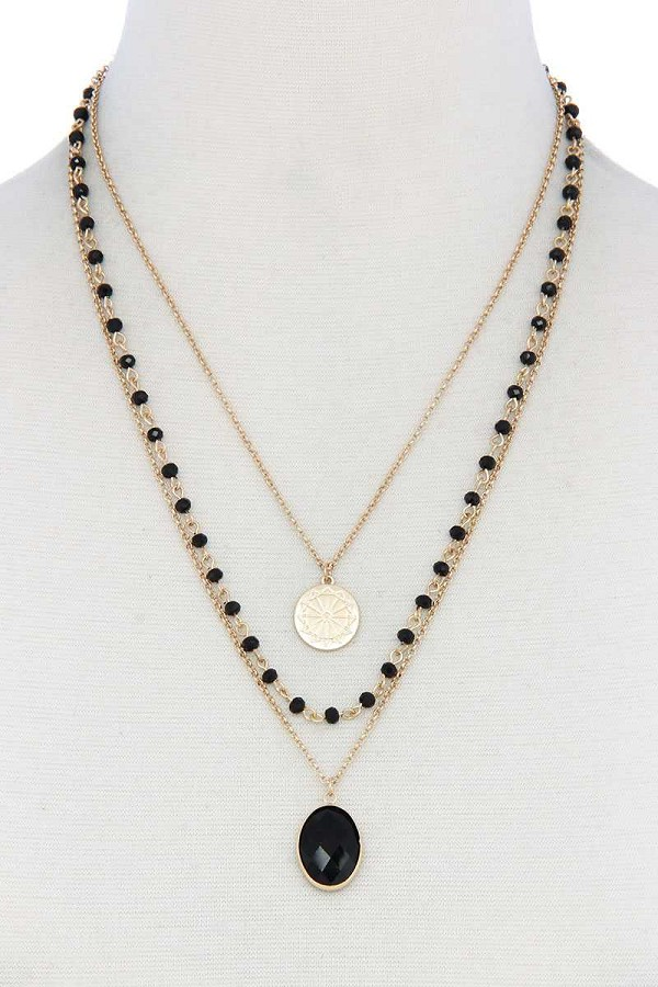 Oval beaded layered necklace-id.cc40414