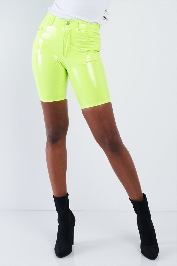 Neon lime green faux leather biker shorts-id.cc40450