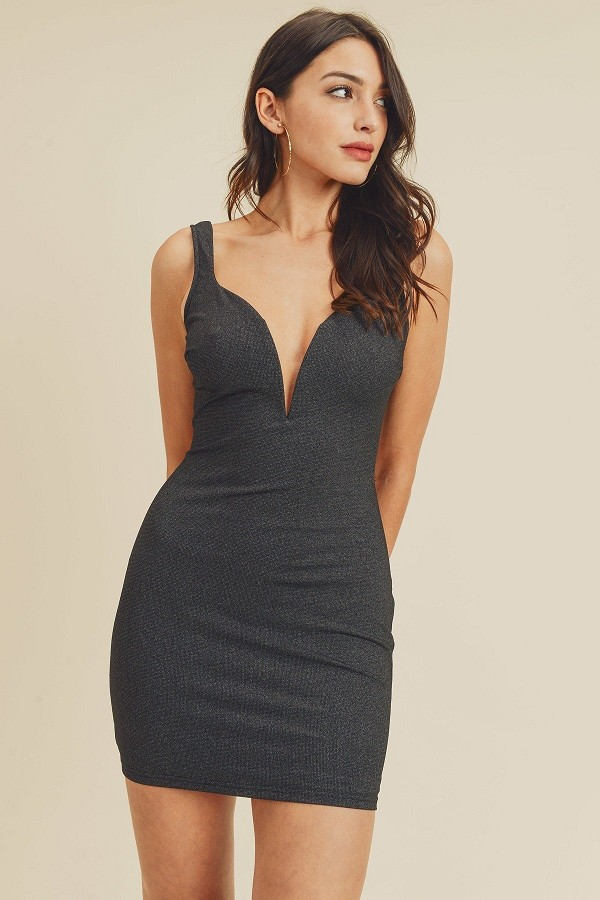 Open back plunging v-neck bodycon dress-id.cc40466a