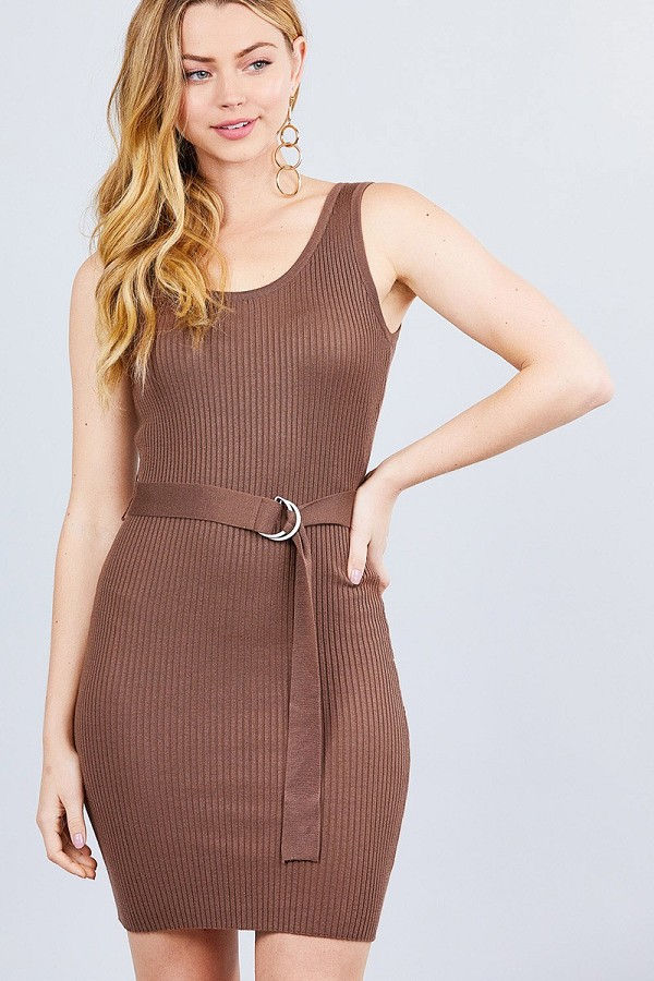 Sleeveless double scoop neck w/belt rib sweater mini dress-id.cc40522a