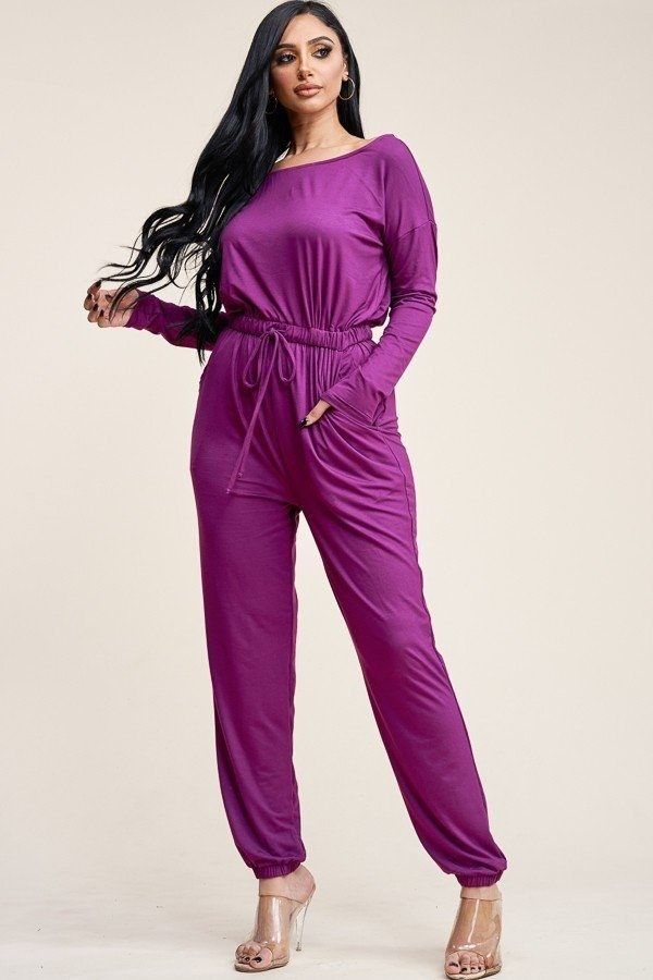 Solid rayon spandex slouchy jumpsuit with pockets-id.cc40541