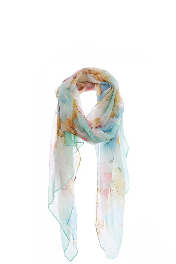 Fashion multi color flower print chiffon scarf-id.cc50575