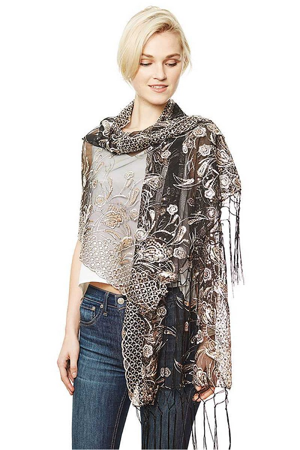 Flower embroidery party shawl scarf-id.cc50579
