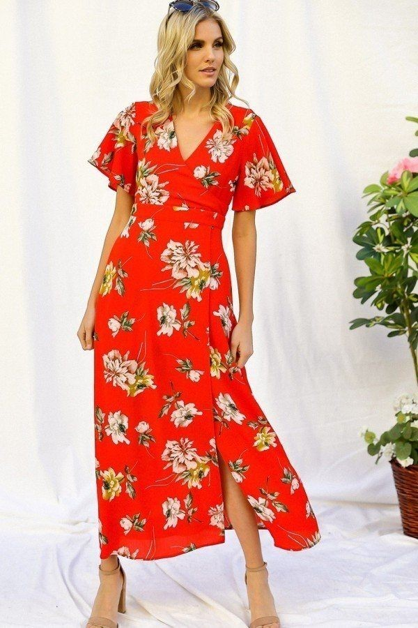 Spring floral print short bell flyaway sleeve faux wrap maxi dress-id.cc50611