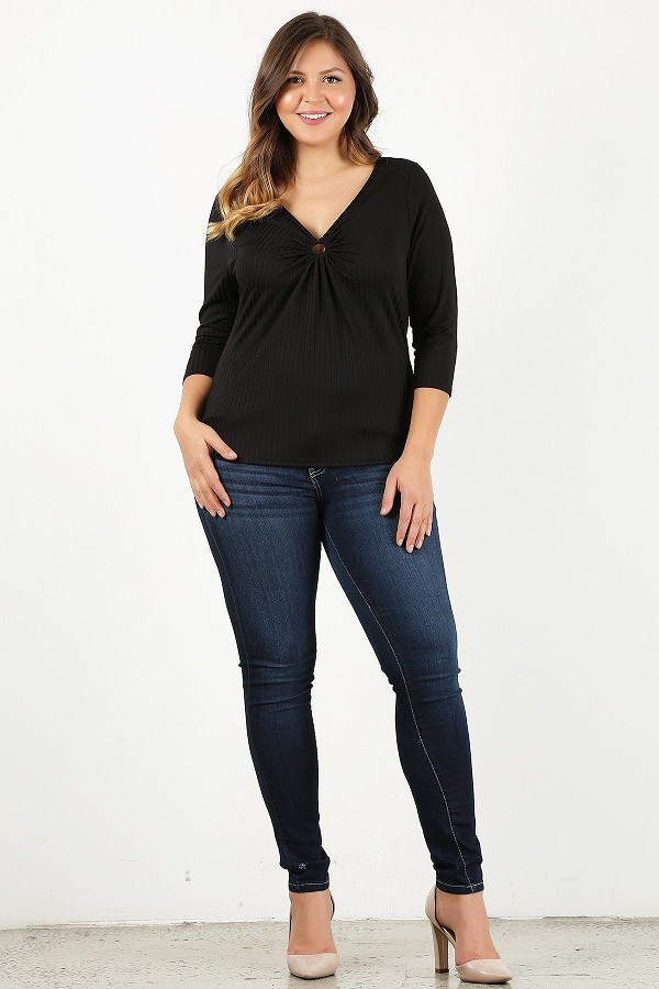 Plus size 3/4 sleeve v-neck with gathered o-ring detail at bust-id.cc50616