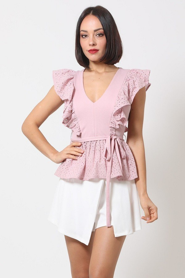 Crotchet peplum top w/ self -front tie-id.cc50683