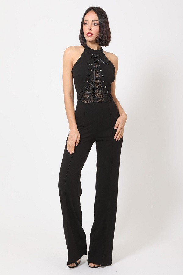 Halter neck jumpsuit w/ criss cross front tie designs-id.cc50686a