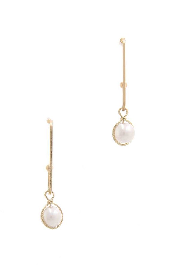 Wire wrapped pearl drop earring-id.cc50710