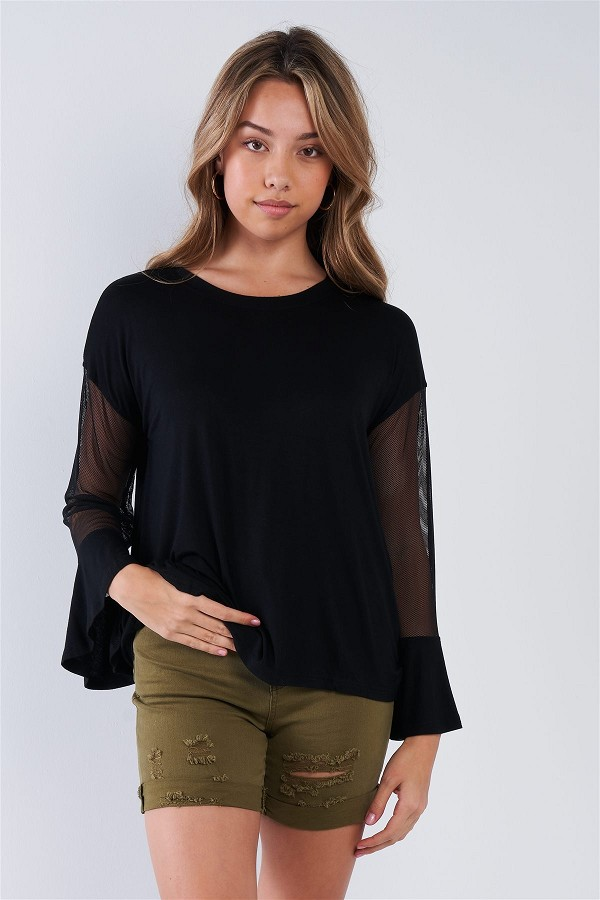 Long mesh sleeve top-id.cc50831