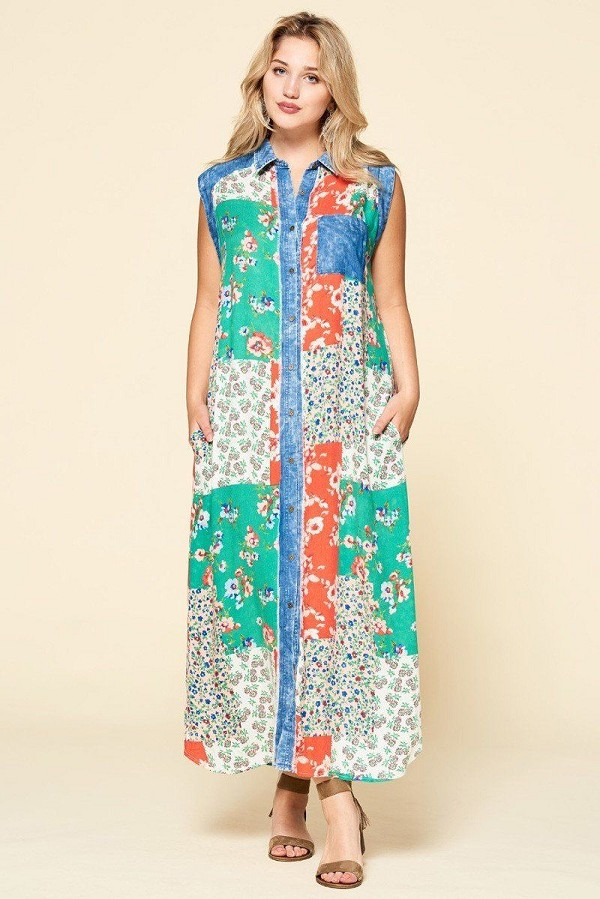 Mixed-floral patchwork printed button-down maxi dress-id.cc50846