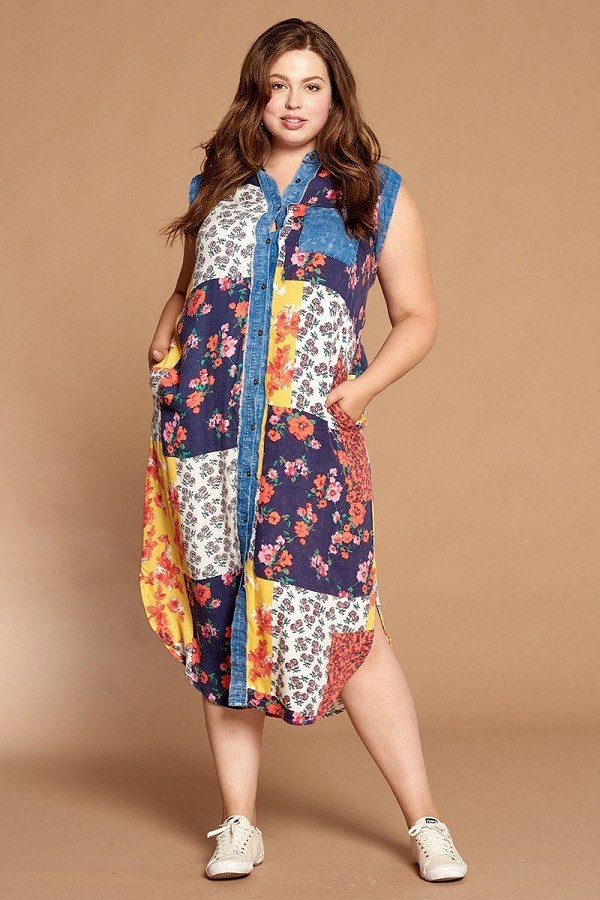 Mixed-floral patchwork printed button-down maxi dress-id.cc50846a