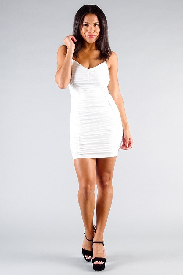 Spaghetti strap gathered front ruched all over mini dress-id.cc50847b