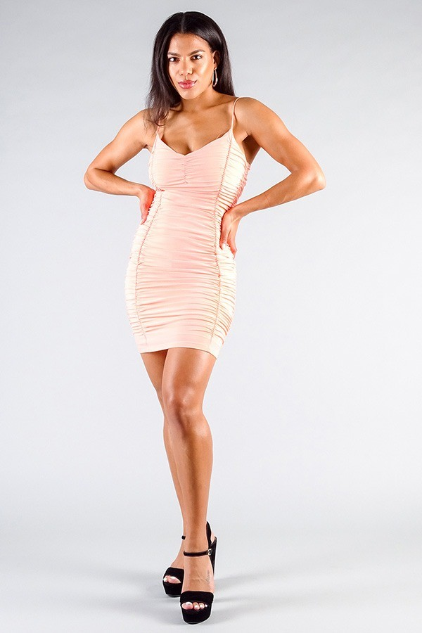 Spaghetti strap gathered front ruched all over mini dress-id.cc50847c
