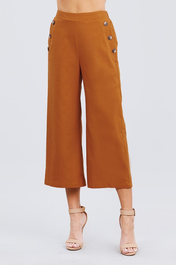 Fake pocket w/button detail wide long leg linen pants-id.cc50920b