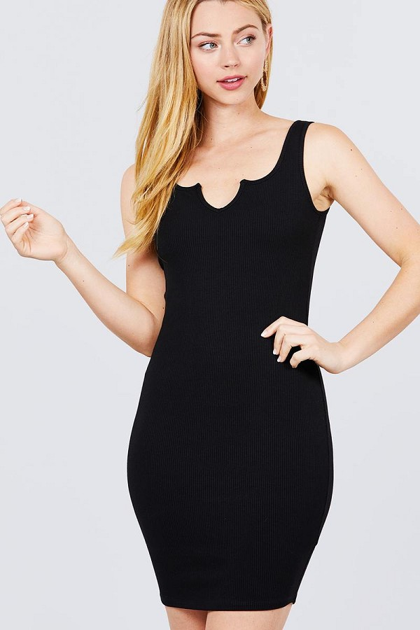 Sleeveless deep round v-shape neck heavy rib mini dress-id.cc50973