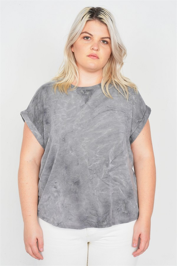 Plus size grey sleeveless basic u-shape hem top-id.cc51016