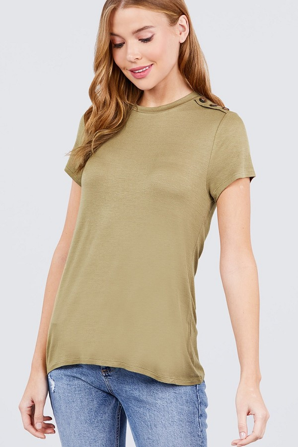 Short sleeve crew neck w/shoulder button detail rayon spandex top-id.cc51034k