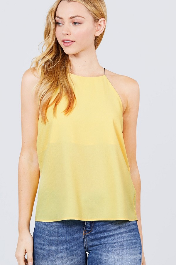 Elastic string halter neck woven top-id.cc51037b