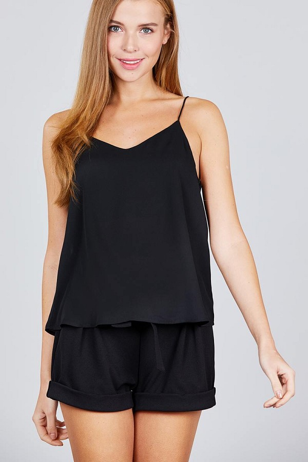 Double v-neck cami woven top-id.cc51039b