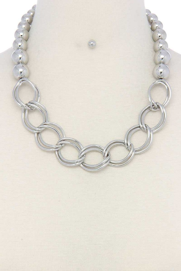 Chunky ball and chain link short necklace-id.cc51047