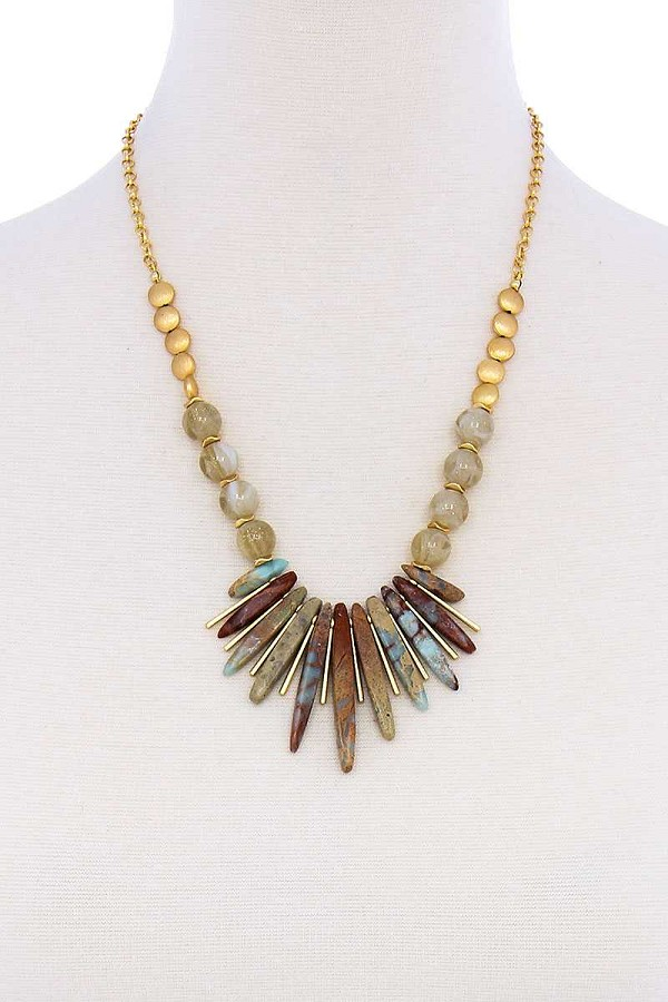 Fashion multi stone and bead necklace-id.cc51160