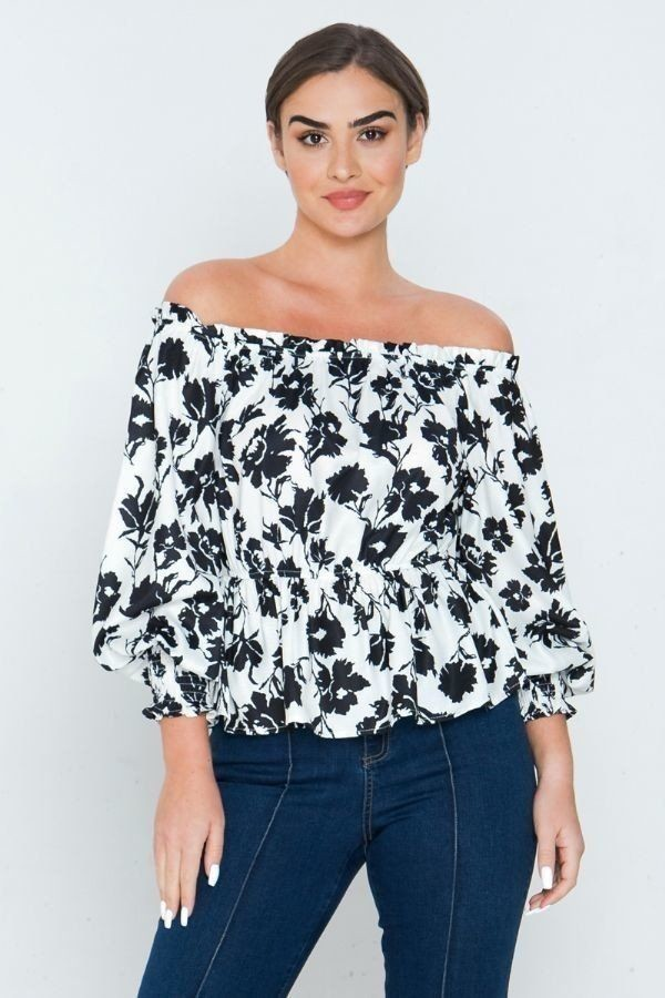 Long sleeves off shoulder neckline printed shirt-id.cc51209