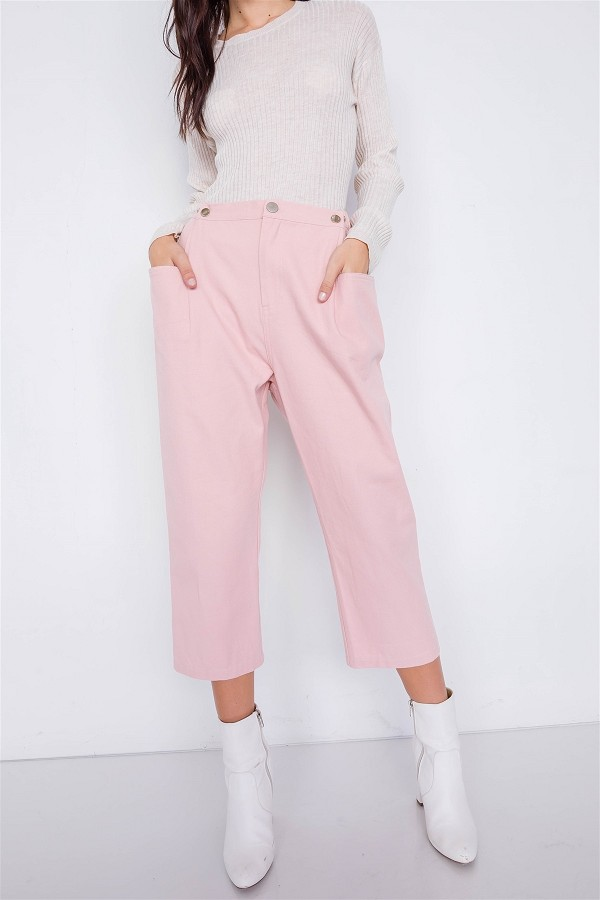 Pastel chic solid ankle wide leg adjustable snap waist pants-id.cc51219a
