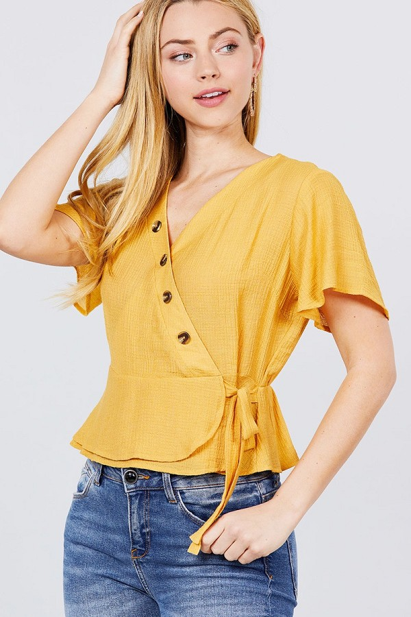 Short sleeve v-neck surplice button down detail ribbon tie back shirring woven top-id.cc51229a