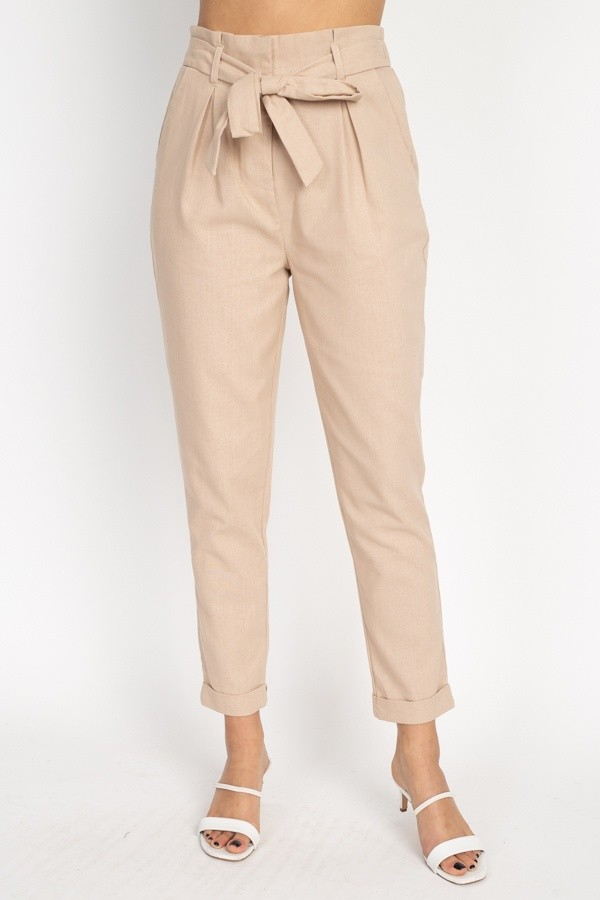 Belted linen paper bag pants-id.cc51236a