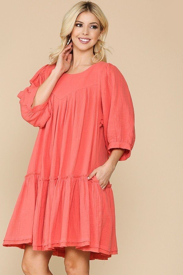 3/4 sleeve pocket ruffle pintuck swing dress-id.cc51276a
