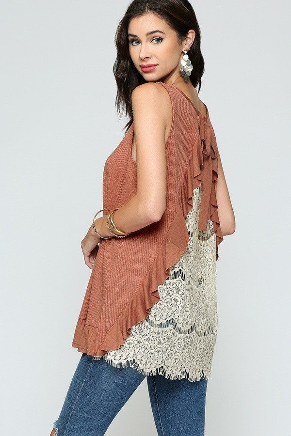 Sleeveless back lace ruffle detail tank top-id.cc51279c