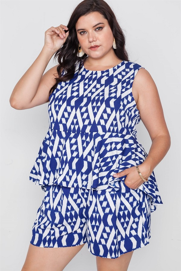Plus size off white blue sleeveless tribal print top-id.cc51296