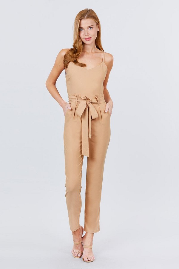 Cami strap v-neck belted tie w/back zipper jumpsuit-id.cc51305a