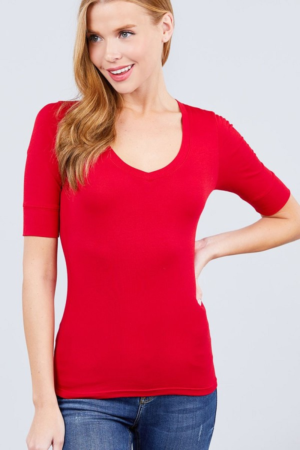 Elbow sleeve v neck top-id.cc51307a
