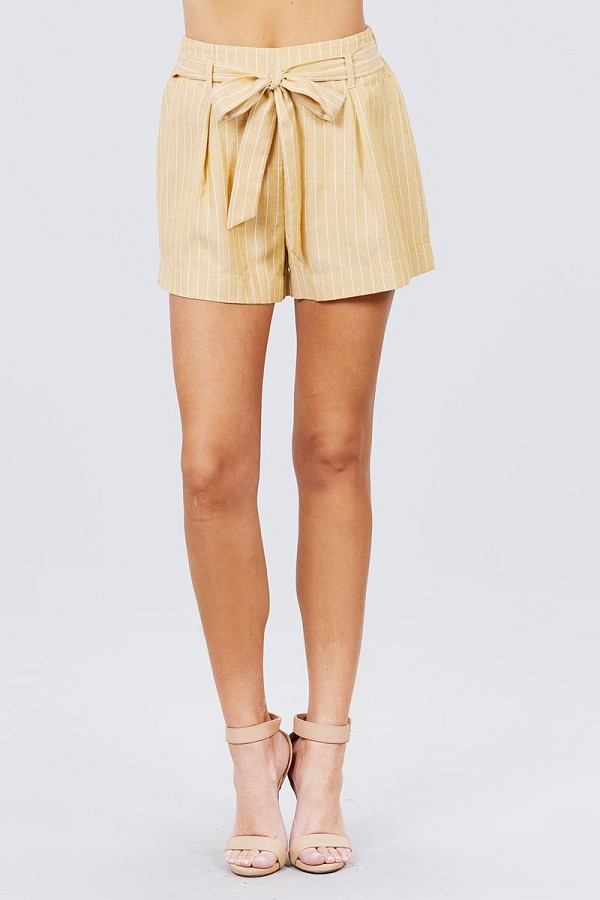 Waist bow tie y/d stripe short pants-id.cc51309a