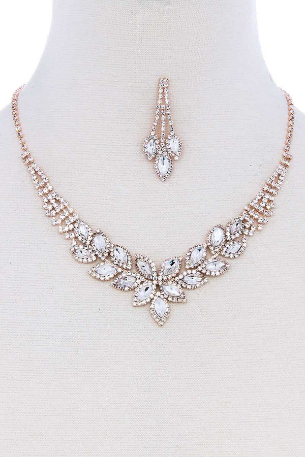 Multi rhinestone zircornia necklace bracelet and earring set-id.cc51315