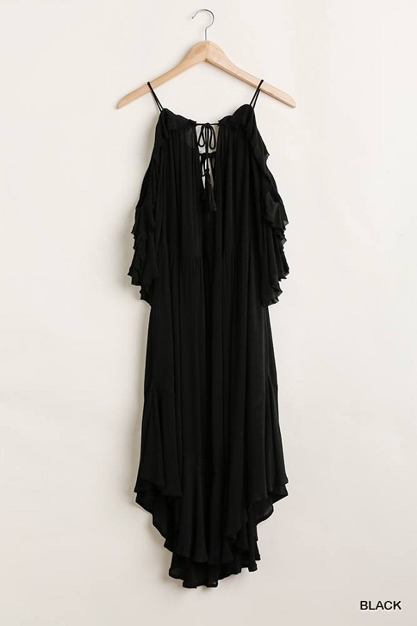 Ruffled cold shoulder maxi dress with front tassel tie-id.cc51362b