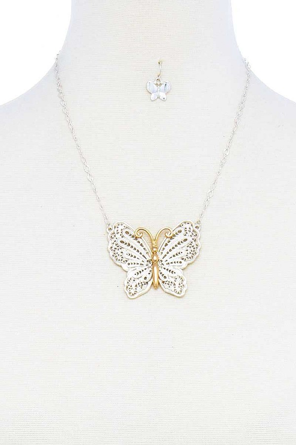 Fashion stylish butterfly pendant necklace and earring set-id.cc51458